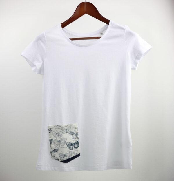 Basic Bio Taschen Shirt (ladies) Butterfly White