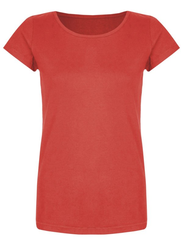 Basic Bio-T-Shirt Rundhals (Ladies) Nr.2 Coral Red