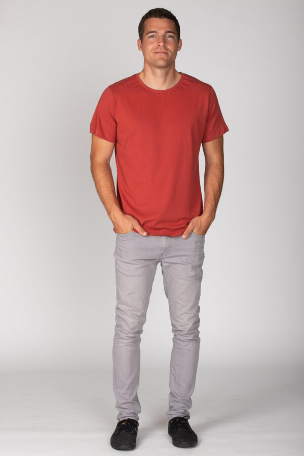 Basic Bio T-Shirt Rundhals (men) Nr.2 Coral Red