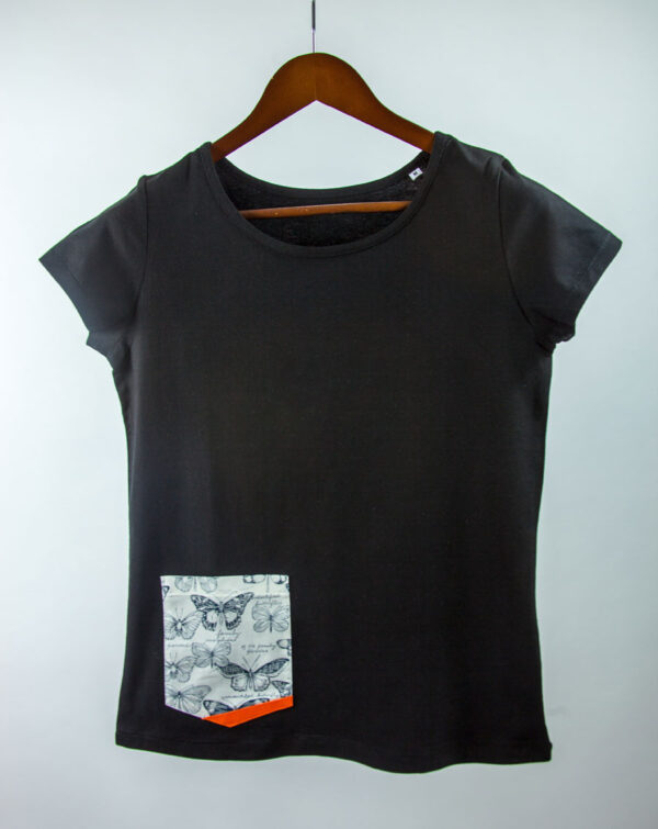 Basic Bio Taschen Shirt (ladies) Butterfly Black