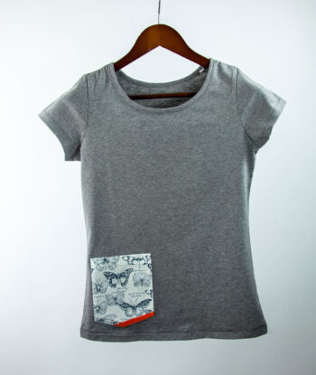 Basic Bio Taschen Shirt (ladies) Butterfly Grey