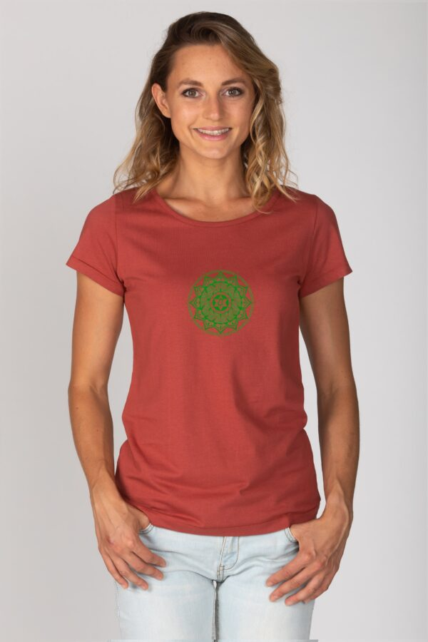Basic Bio T-Shirt (ladies) Anahata Chakra red