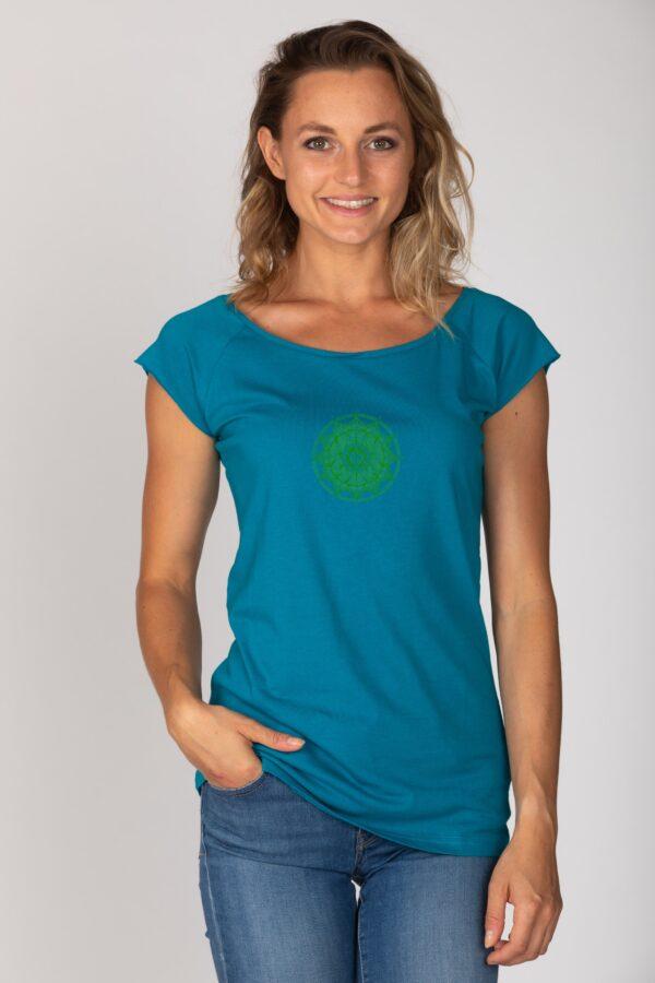 Basic Bio T-Shirt (ladies) Anahata Chakra petrol